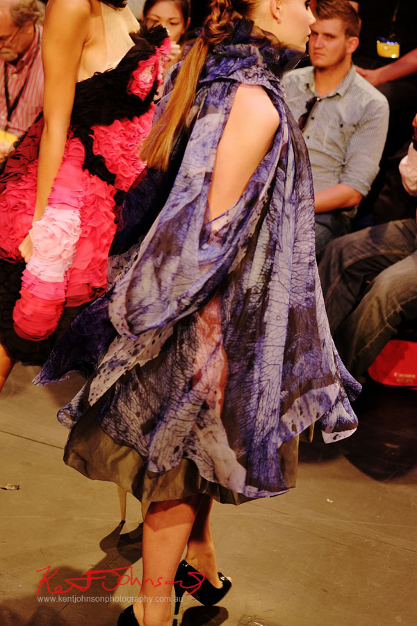 Colourful print flowing dress, Raffles College 2012 Graduate Fashion Show Carriageworks, Everleigh Sydney