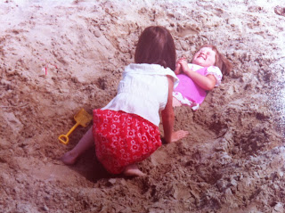 My Sister burying me in the sand