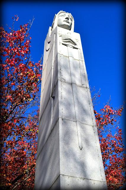 World War II Monument, Lafayette Park, Salem, Massachusetts, hard, granite, autumn, fall, leaves