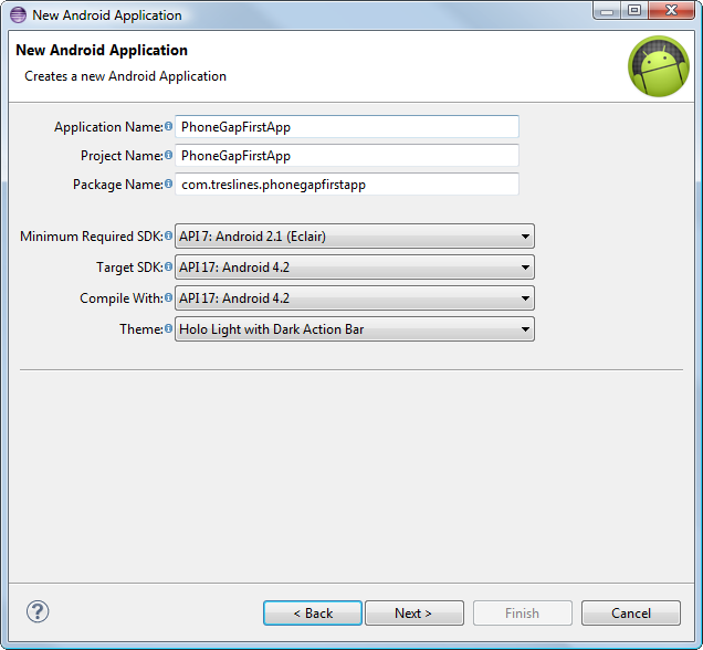 how to create a phonegap app for android