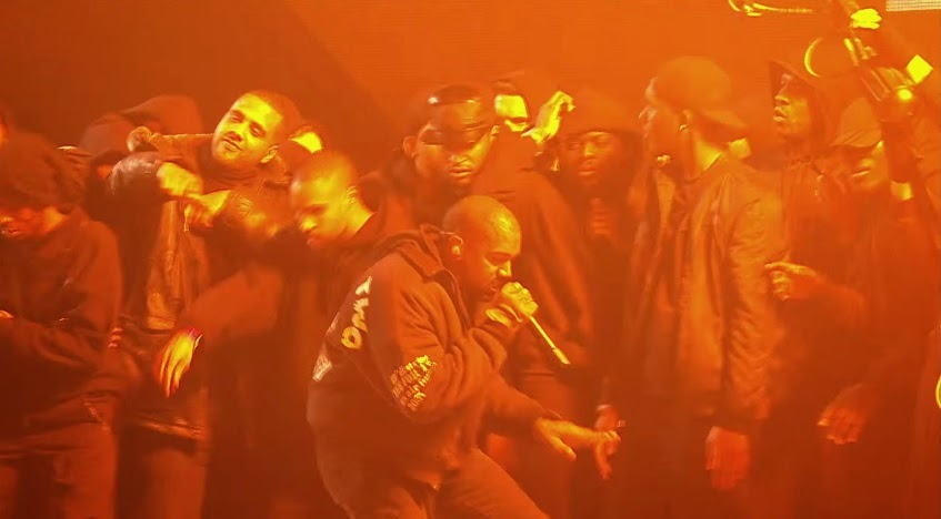 "Kanye West performs ""All Day"" at the 2015 BRIT Awards. Screenshot from https://www.youtube.com/watch?v=_ABk7TmjnVk"