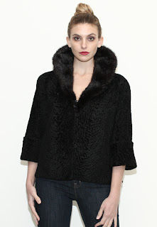 Vintage 1950's black Persian lamb fur coat with mink collar and bracelet sleeves