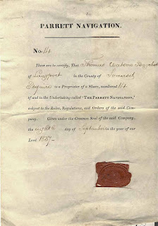share certificate of the Parrett Navigation company with wax seal