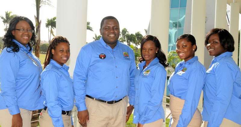 Student Government Association Officers 2013-2014: from left to right: Senior Senator Helena Shoy, Public Relations Officer Lennoxsea Thompson, President Kevin Dixon, Secretary Wendy Aurelien, Treasurer D'lisa Williams, and Vice President Sheena Tonge