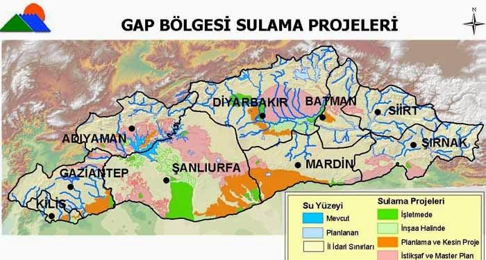 GAP B�lgesi Sulama Projeleri Haritas�