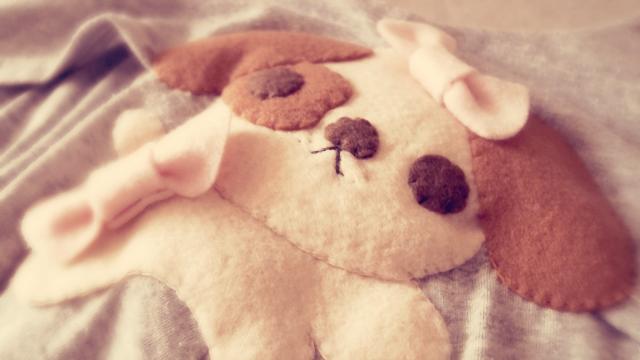 felt puppy, dog, cute embellishment, sewing, cute, easy