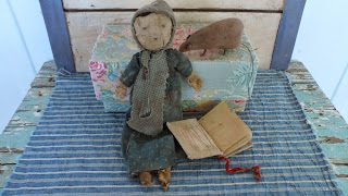 Angela Hillstom Original Homespun Doll and Early Bible one of a kind -