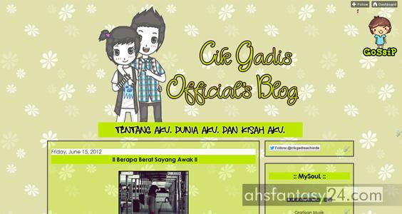 blog cik gadis, blog hijau,ieyda achieda, blog cantik, blog perempuan, template ladies