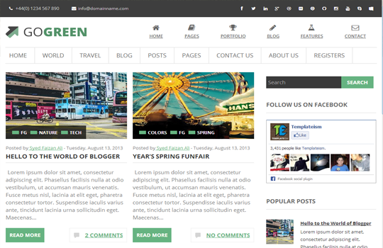 GoGreen Blogger Template