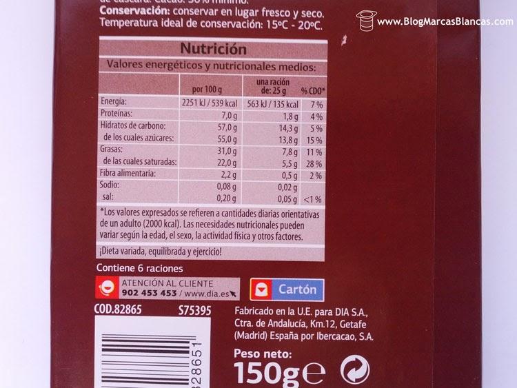 Información nutricional del chocolate con leche DIA.