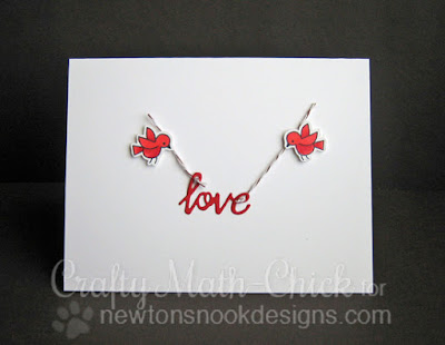 CAS Simple Love Valentine by Crafty Math Chick | Winged Wishes & Darling Hearts Dies by Newton's Nook Designs
