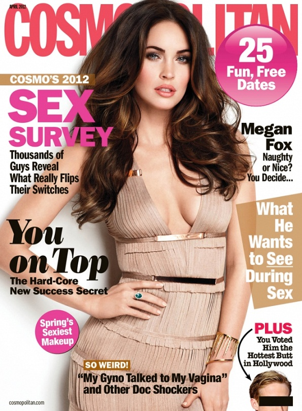 Megan Fox features on the cover of Cosmopolitan, April 2012