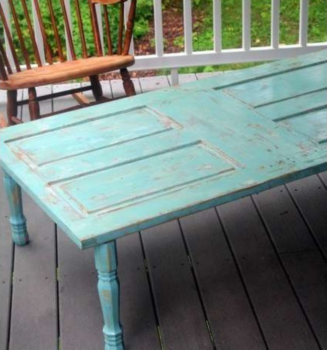 The art of up cycling how to build a table from doors - Make a table from an old door ...