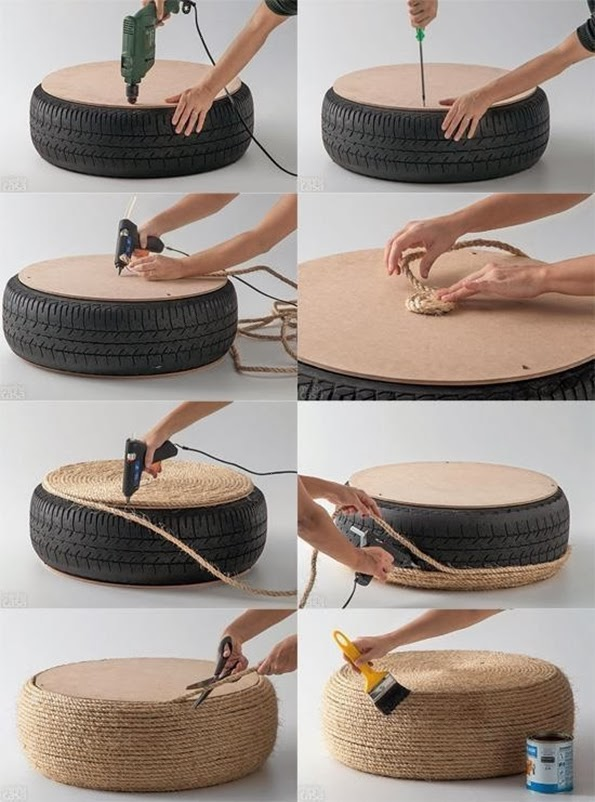 maiko nagao diy upcycled tire into a ottoman seat