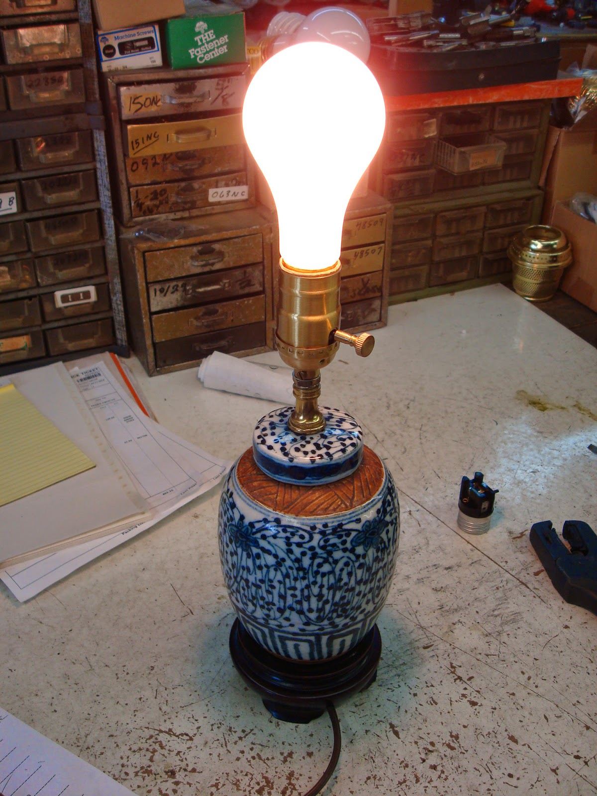 small porcelain lamp complete