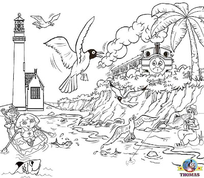 Cool things to do Duck and Thomas the train coloring pages for kids free printable Halloween sheets