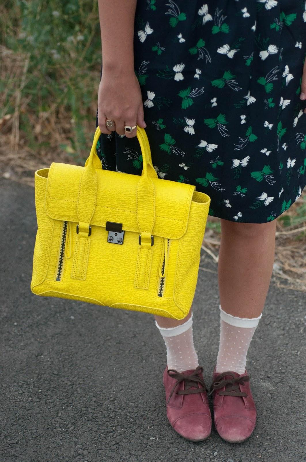 3.1 phillip lim, phillip lim pashli satchel, medium satchel, ootd, karen walker bow dress, nordstrom oxfords