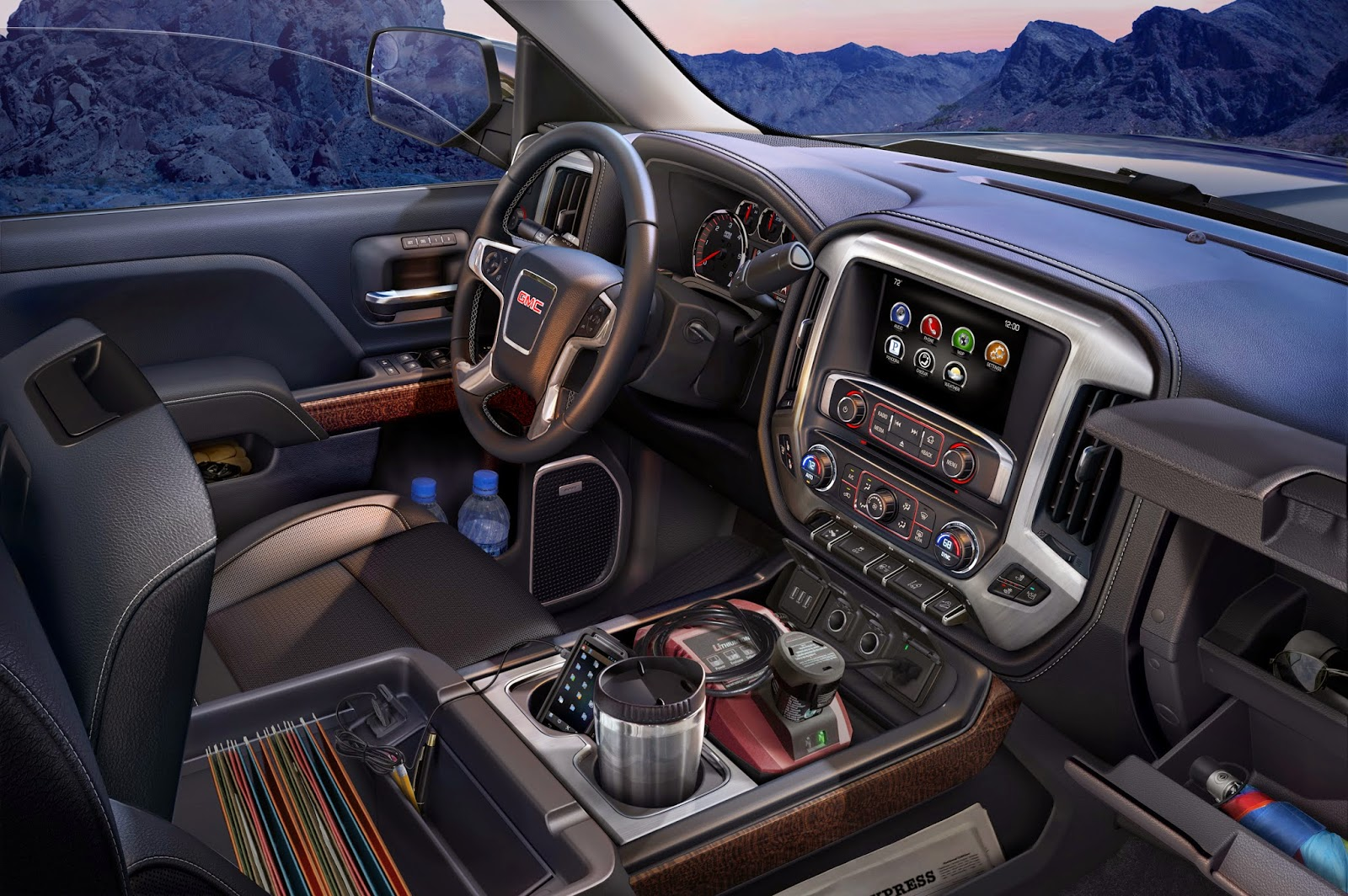Interior view of 2014 GMC Sierra