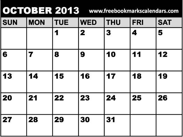October 2013 Monthly Calendar Printable