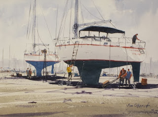seascape, landscape, boat, sailboat, marina, uk, wales, penrhyn, bangor, anglesey, menai, oberst, watercolor, painting