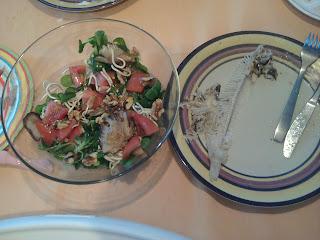 cena lenguado y ensalada tibia de setas y gulas