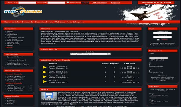 Grunge Black Red Music Php-fusion Theme