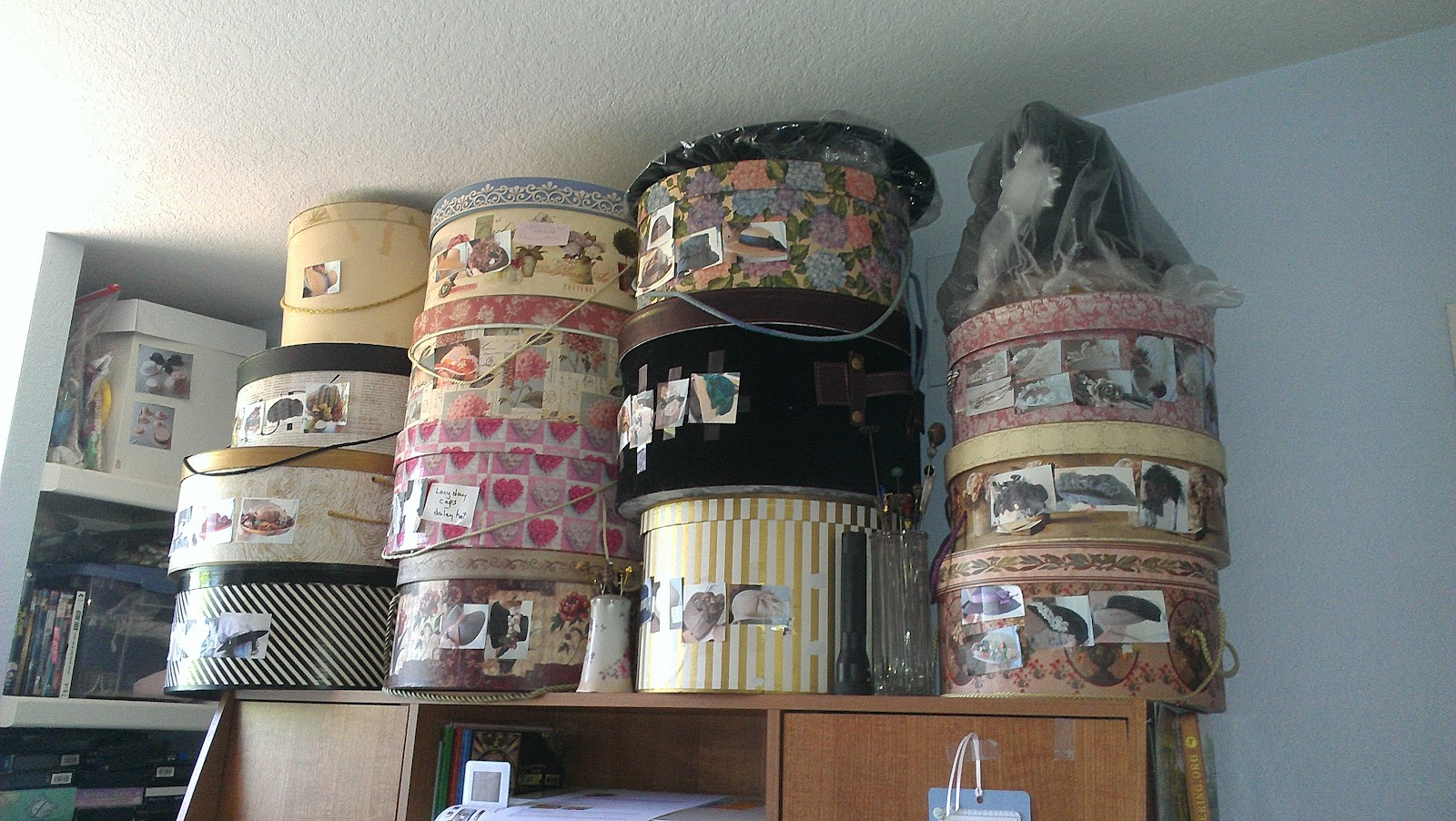 Thatu0027s Not All Of Them But Theyu0027re Reached The Ceiling Already. Thereu0027s  Still The Short Stack Of Hats Behind Me, And A Square Hat Box That Is  Temporary ...