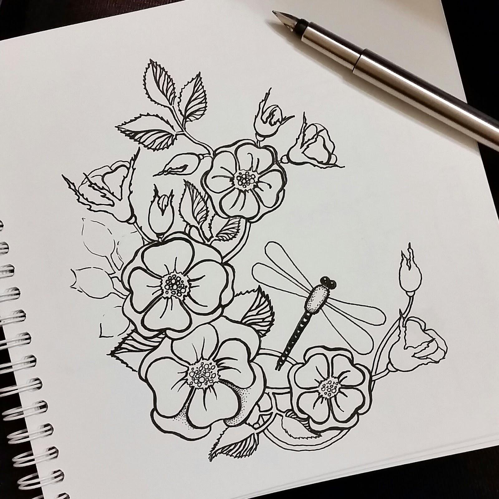 Рисунки цветов ручкой фото