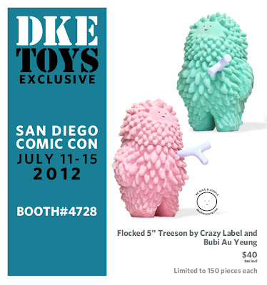 San Diego Comic-Con 2012 Exclusive Flocked Pink and Mint Treeson Figures by Crazy Label &amp; Bubi Au Yeung