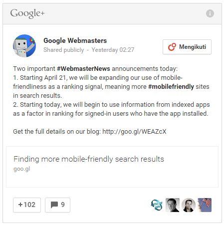 penyataan google webmaster