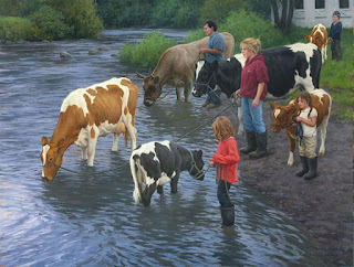 Escenas Campo Caballos Vacas Paisajes