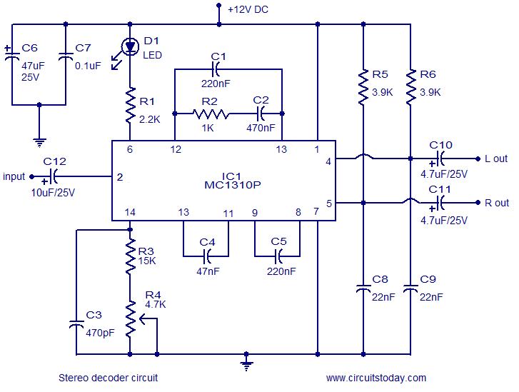 Simple FM stereo decoder circuit using MC1310P IC