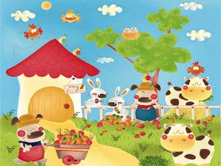 Dibujos coloreados de granjas para niños