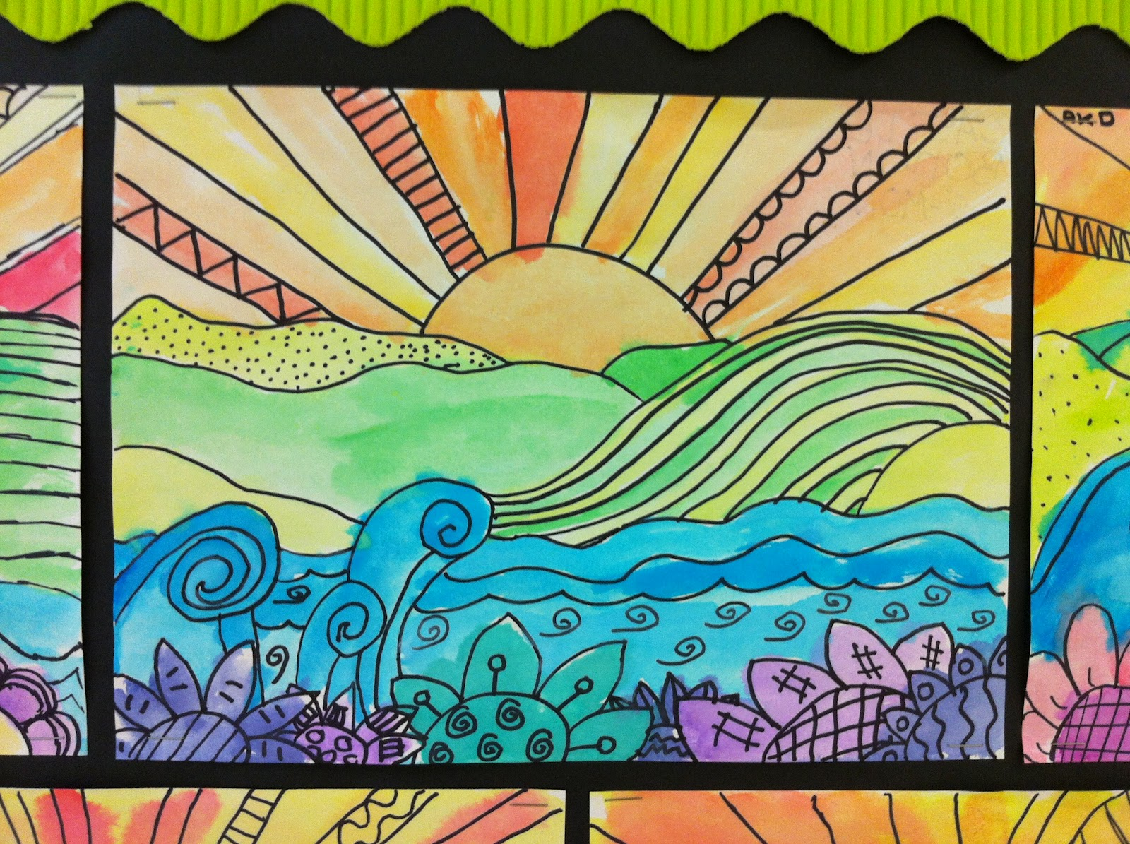 Line Project Art : Apex elementary art whimsical landscapes