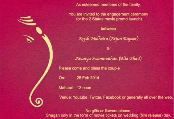 Krish and Ananya marriage card: a property of 2 States giving evidence of wedding