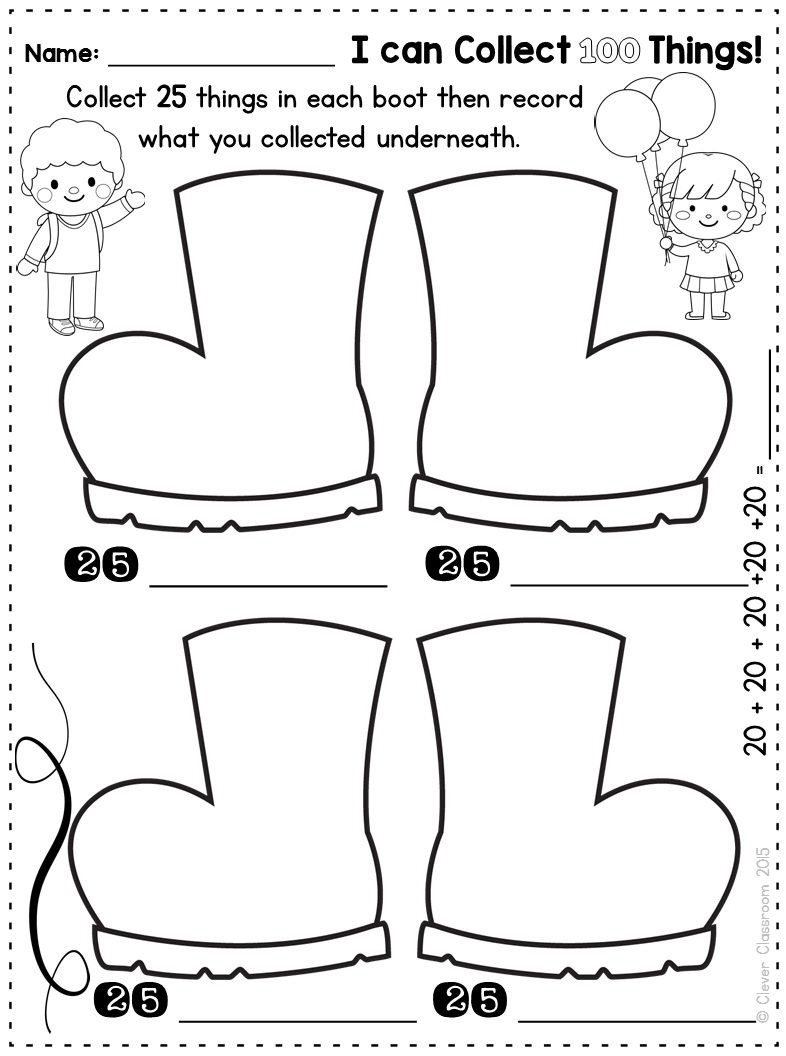 Printables for 100th day of school plus a free download