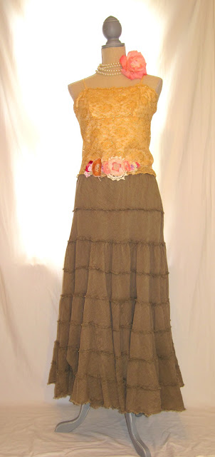 Boho Shabby Chic Summer Long Maxi Dress, Adjustable Straps Metallic Gold and Olive Colors