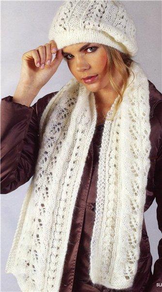 вязаные ажурные берет и шарф