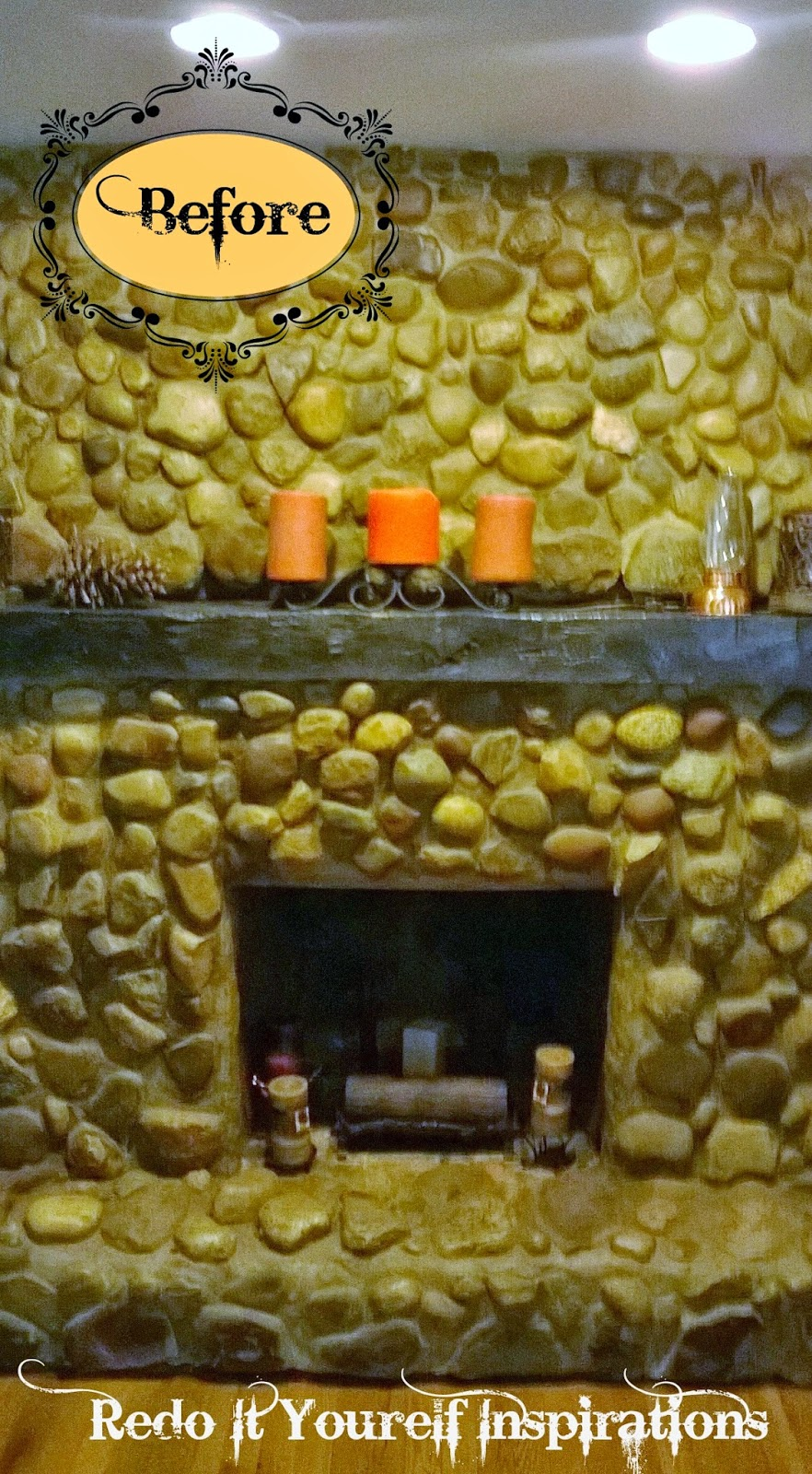 Fireplace and mantel makeover redo it yourself inspirations welcome to our river rock fireplace its located in our dining room one of the features that sold the fixer upper house to us its non working due to a solutioingenieria