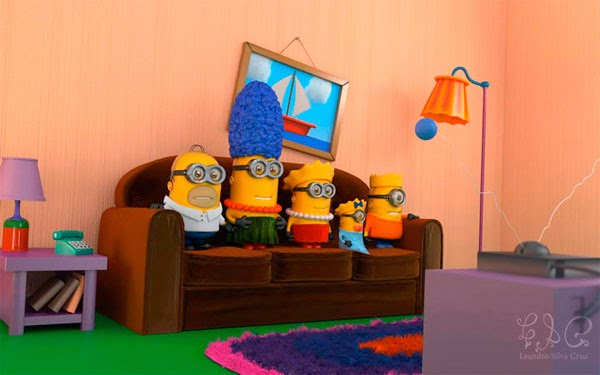 Minion Homer, Minion Marge, Minion Lisa, Minion Maggie e Minion Bart