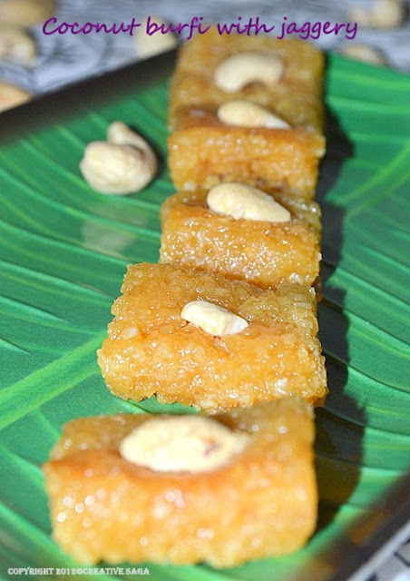 coconut burfi with jaggery