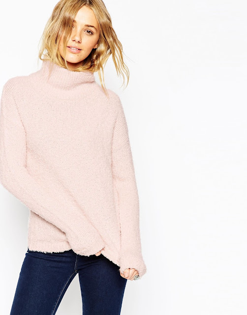 high neck pink jumper