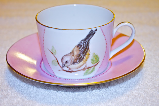 china cup, tea cup, porcelain, hand painted, birds, sparrow