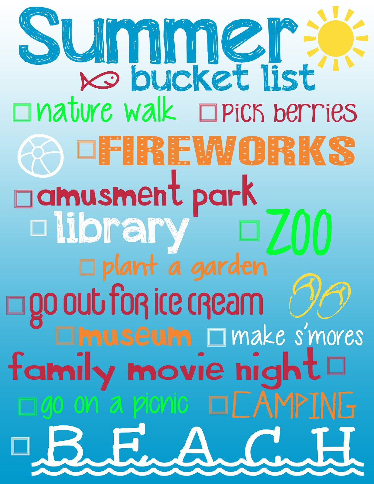 we do too this is your free summer bucket list printable i know that our family hates missing out on fun things to do print this list out - Fun Things To Print