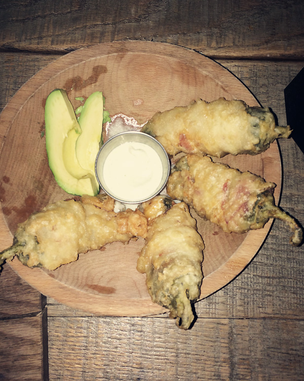 Jalapeño poppers at Saint Anejo Mexican Restaurant in the Gulch, Nashville Tennessee.