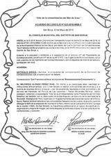 Acuerdo de Concejo de la Municipalidad de San Borja. Lima, mayo 23 de 2016.