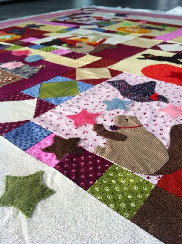patchwork quilt ardillas