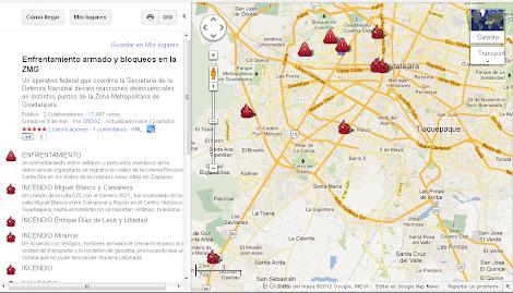 Distribución de Narcobloqueos en Guadalajara