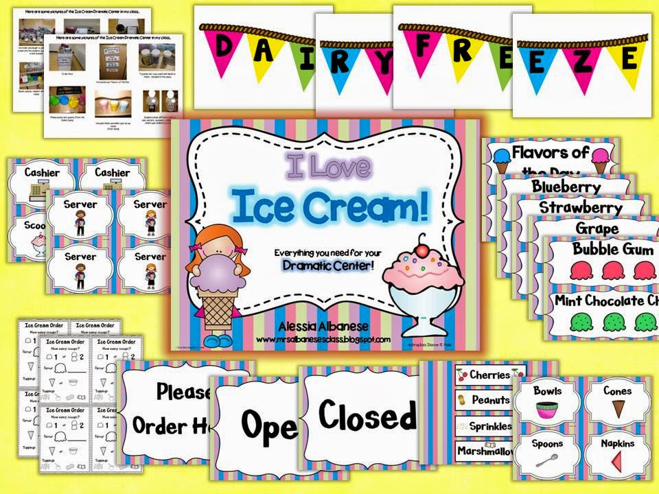 http://www.teacherspayteachers.com/Product/Ice-Cream-Parlor-Dramatic-Play-Center-1230995