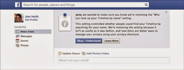Agreement notice of facebook removal of privacy on search